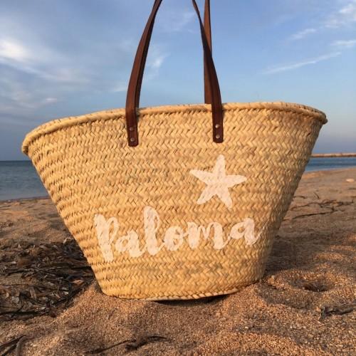 Capazo de playa personalizado con nombre pintado
