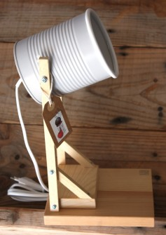 Desk lamps made from recycled tomato cans